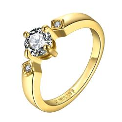 Vienna Jewelry Gold Plated Crystal Jewel Center Petite Ring Size 8 - Thumbnail 0