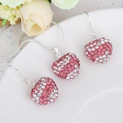 Vienna Jewelry Austrian Crystal Element Multi-Pave Heart Drop Earring and Necklace Set- Pink Stripe