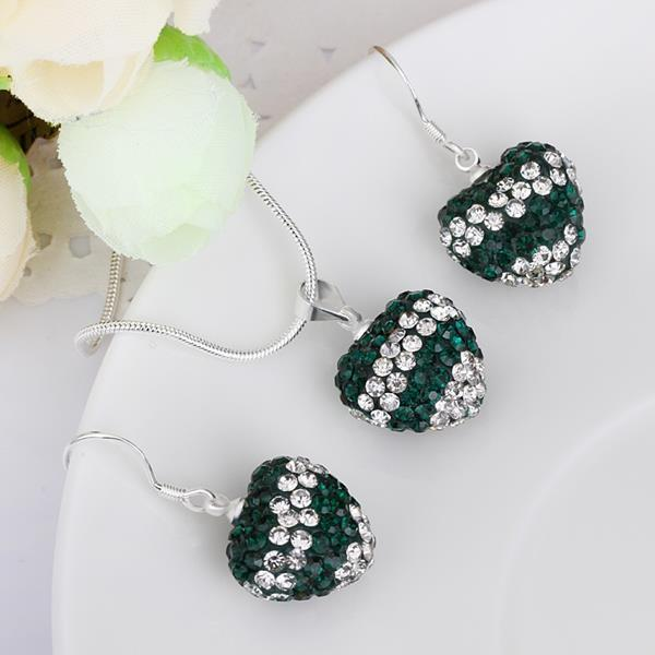 Vienna Jewelry Austrian Crystal Element Multi-Pave Heart Drop Earring and Necklace Set-Emerald Crystal