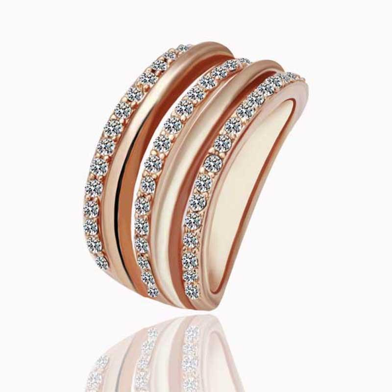Vienna Jewelry Rose Gold Plated Abstract Matrix Swirl Ring Size 8