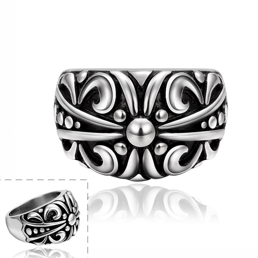 Vienna Jewelry Abstract Design Ingrained Stainless Steel Ring