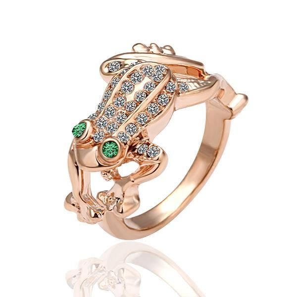 Vienna Jewelry Rose Gold Plated Leaping Frog Ring Size 8