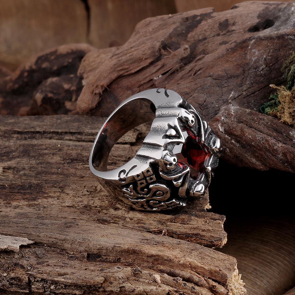 Vienna Jewelry Centerpiece Ruby Gem Stainless Steel Ring
