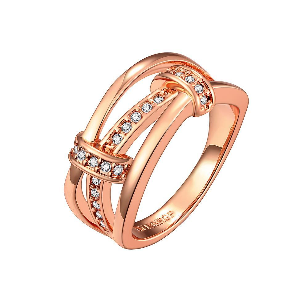 Vienna Jewelry Rose Gold Plated Trio-Linear Jewels Covering Ring Size 7