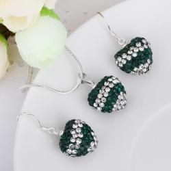Vienna Jewelry Austrian Crystal Element Multi-Pave Heart Drop Earring and Necklace Set-Emerald Crystal - Thumbnail 0