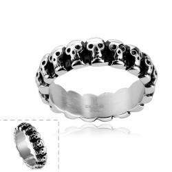 Vienna Jewelry Line of Skulls Stainless Steel Ring - Thumbnail 0
