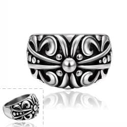 Vienna Jewelry Abstract Design Ingrained Stainless Steel Ring - Thumbnail 0