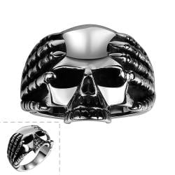 Vienna Jewelry Medium Stainless Steel Skull Ring - Thumbnail 0