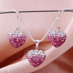 Vienna Jewelry Austrian Crystal Element Multi-Pave Heart Earring and Necklace Set-Pink Fusion