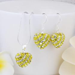 Vienna Jewelry Austrian Crystal Element Multi-Pave Heart Drop Earring and Necklace Set-Yellow Sunshine