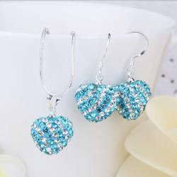 Vienna Jewelry Austrian Crystal Element Multi-Pave Heart Drop Earring and Necklace Set-Baby Blue