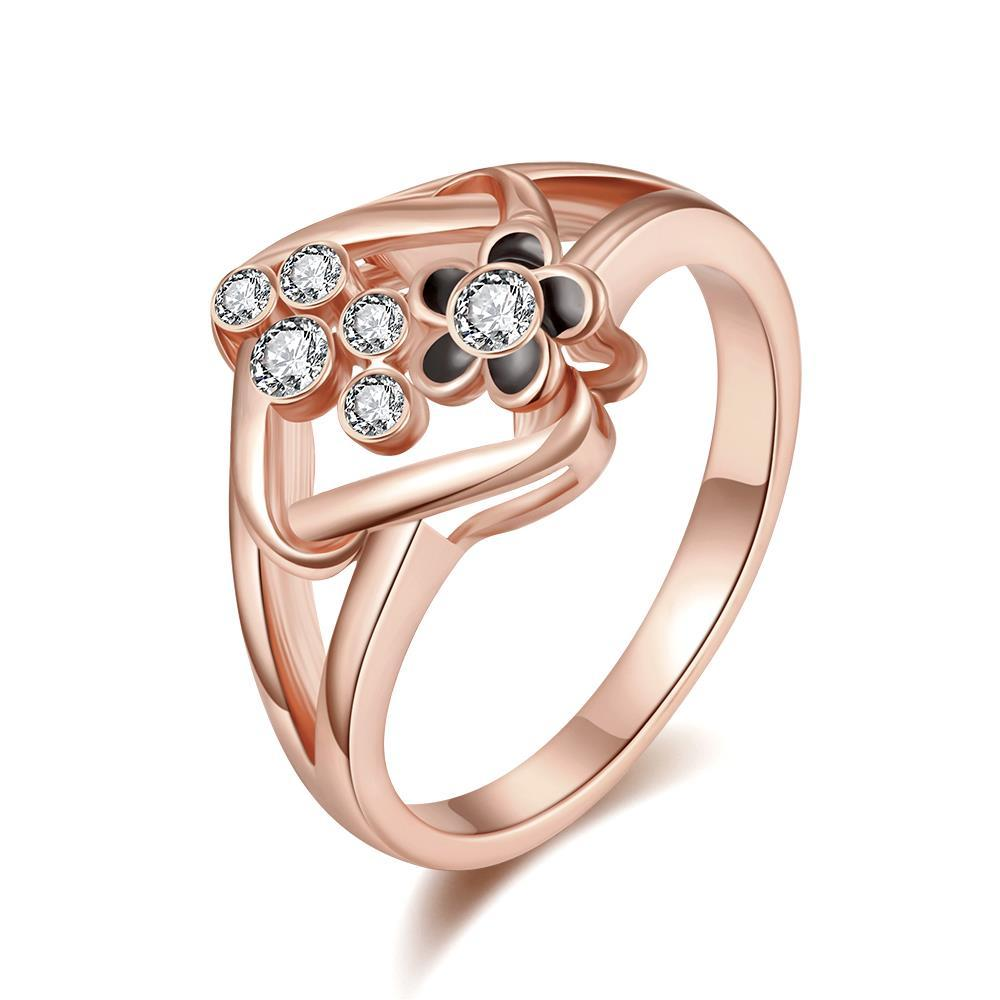 Vienna Jewelry Rose Gold Plated Curved Rhombus Cocktail Ring Size 7