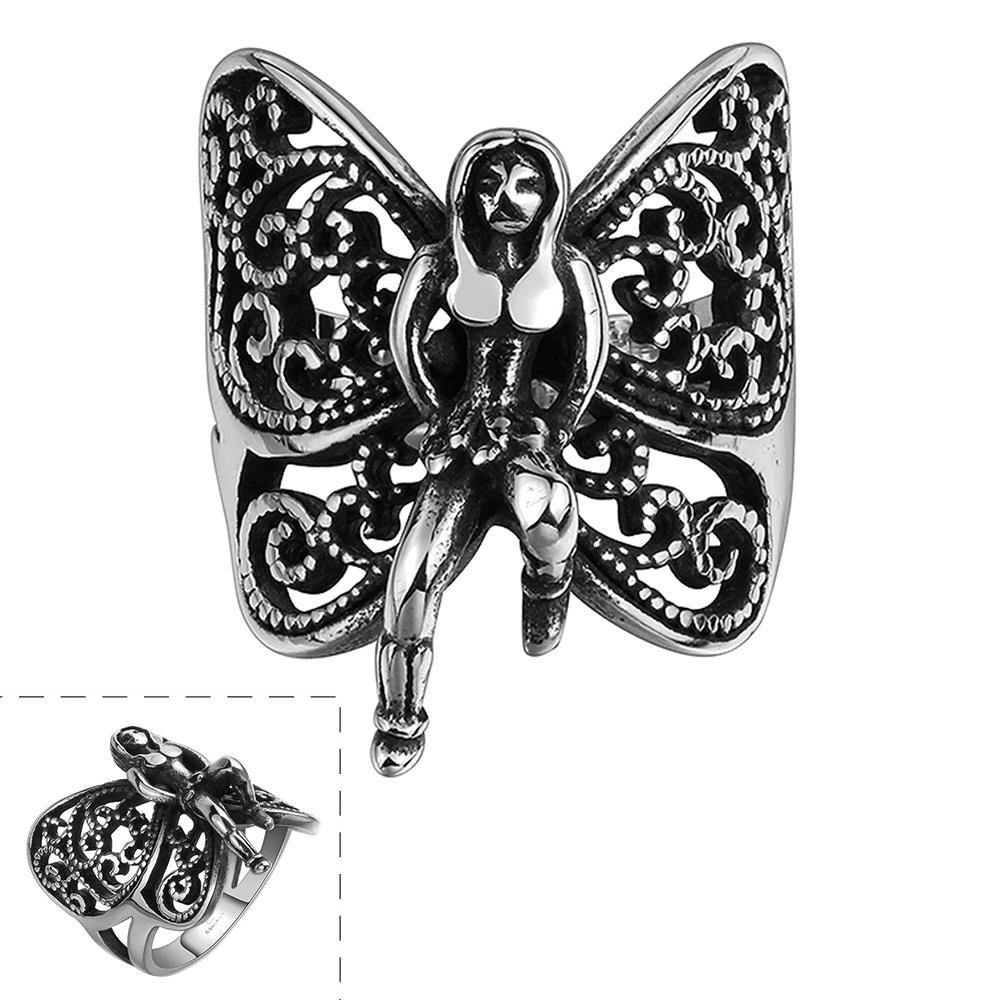 Vienna Jewelry Flying Butterfly Stainless Steel Ring