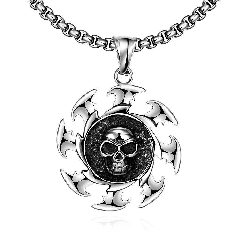Vienna Jewelry Skull Blade Stainless Steel Necklace