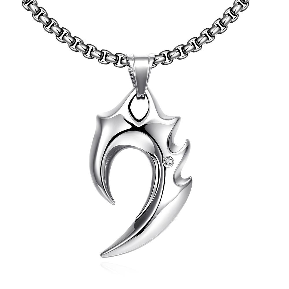 Vienna Jewelry Stainless Steel Blade Emblem Stainless Steel Necklace
