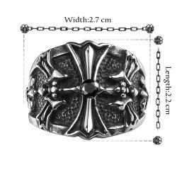 Vienna Jewelry Stainless Steel Cross Emblem Ring - Thumbnail 0