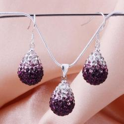 Vienna Jewelry Austrian Crystal Element Multi-Pave Earring and Necklace Set-Purple Fusion