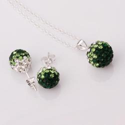 Vienna Jewelry Austrian Crystal Element Multi-Pave Earring Studs and Necklace Set-Emerald Crystal