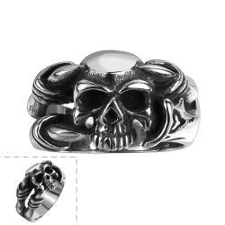 Vienna Jewelry Singular Black Skull Stainless Steel Ring - Thumbnail 0