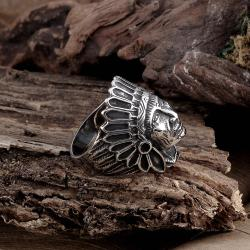Vienna Jewelry The Indian Chief Stainless Steel Ring - Thumbnail 0