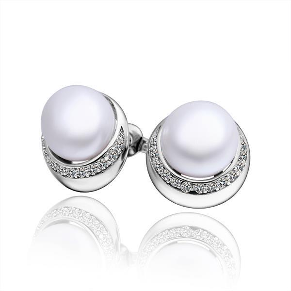 Vienna Jewelry Cultured Pearl Crystal Circular Rounding Earrings