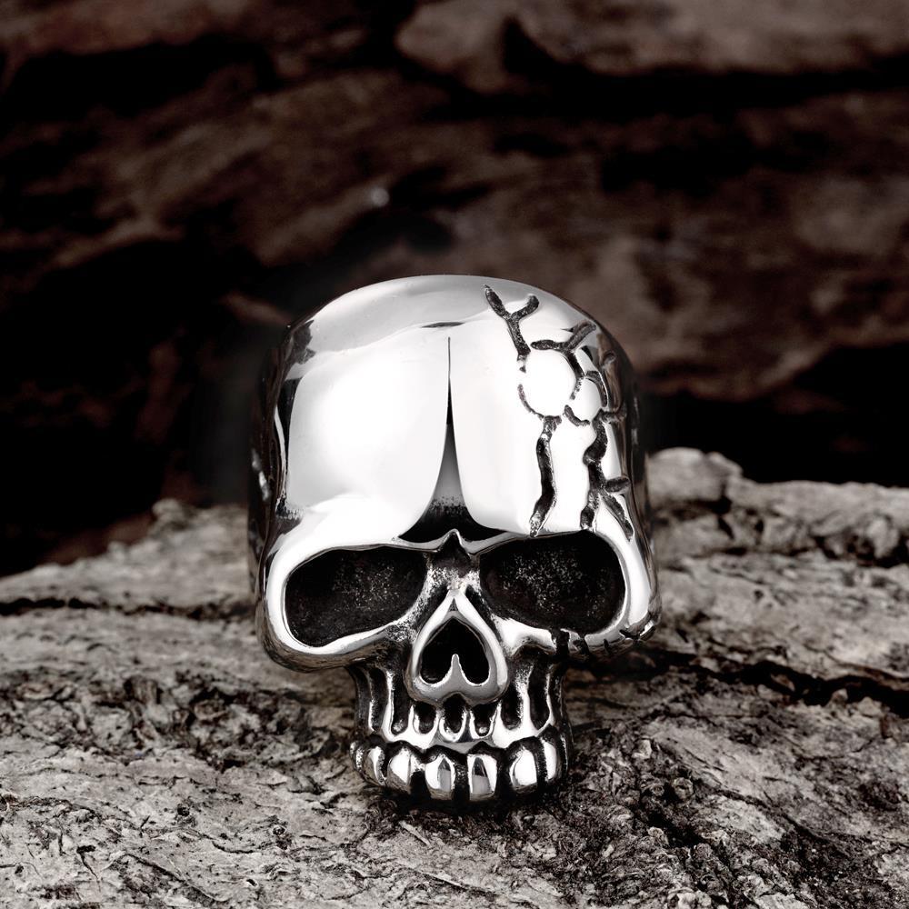 Vienna Jewelry Stainless Steel Cracked Skull Ring