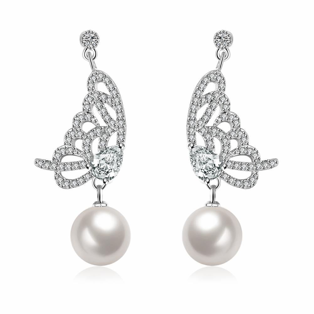 Vienna Jewelry Cultured Pearl Dangling Butterfly Earrings