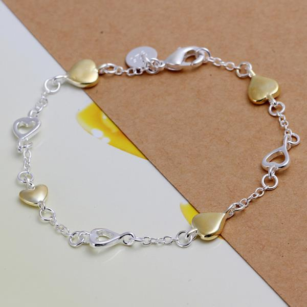 Vienna Jewelry Sterling Silver Gold Coloring Heart Bracelet