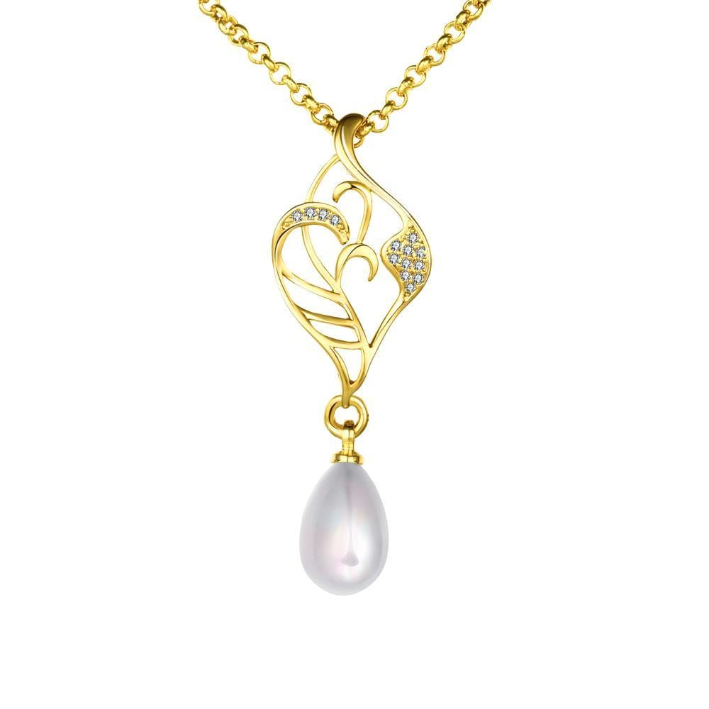 Vienna Jewelry Gold Coloring Laser Cut Cultured Pearl Emblem Necklace