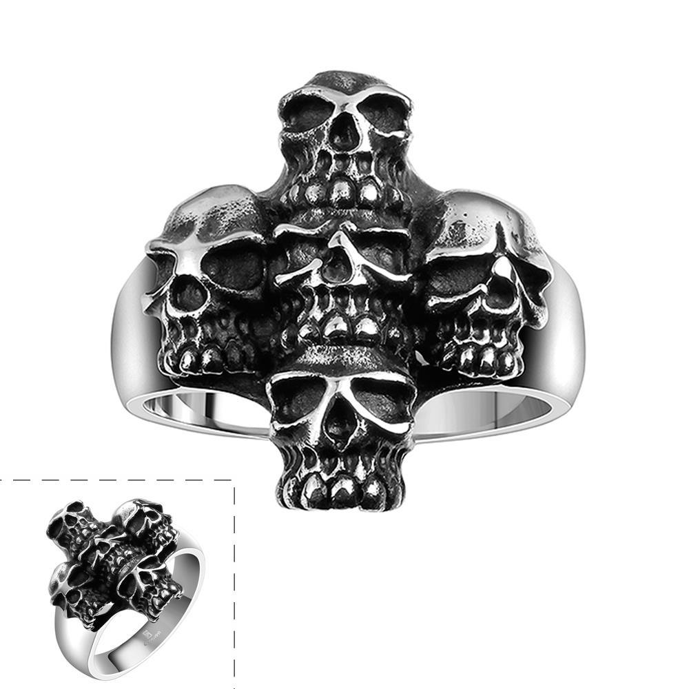 Vienna Jewelry Abstract Angular Stainless Steel Skull Ring