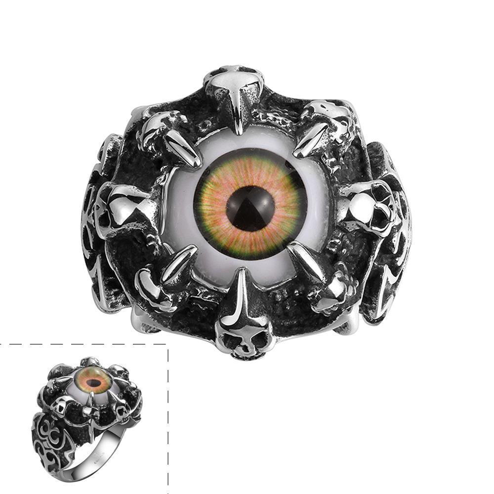 Vienna Jewelry Orange Eyeball Stainless Steel Ring