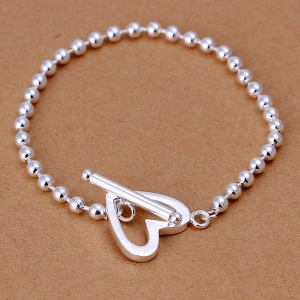 Vienna Jewelry Sterling Silver Petite Bead Heart Closure Bracelet