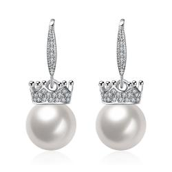 Vienna Jewelry Cultured Pearl Lined Classic Drop Earrings - Thumbnail 0