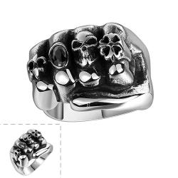 Vienna Jewelry Fistfull of Skulls Stainless Steel Ring - Thumbnail 0