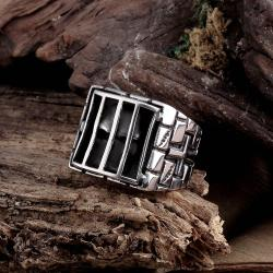 Vienna Jewelry Skull Behind Bars Stainless Steel Ring - Thumbnail 0