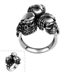 Vienna Jewelry Triple Skull Stainless Steel Ring - Thumbnail 0