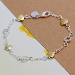Vienna Jewelry Sterling Silver Gold Coloring Heart Bracelet - Thumbnail 0