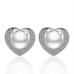 Vienna Jewelry Cultured Pearl Heart Shaped Stud Earrings - Thumbnail 0