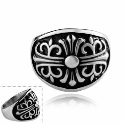 Vienna Jewelry Stainless Steel Shield Emblem Ring - Thumbnail 0