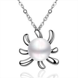 Vienna Jewelry White Gold Plated Cultured Pearl Blossoming Orchid Pendant