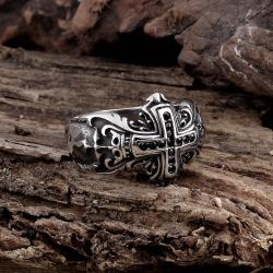 Vienna Jewelry The English Cross Stainless Steel Ring - Thumbnail 0