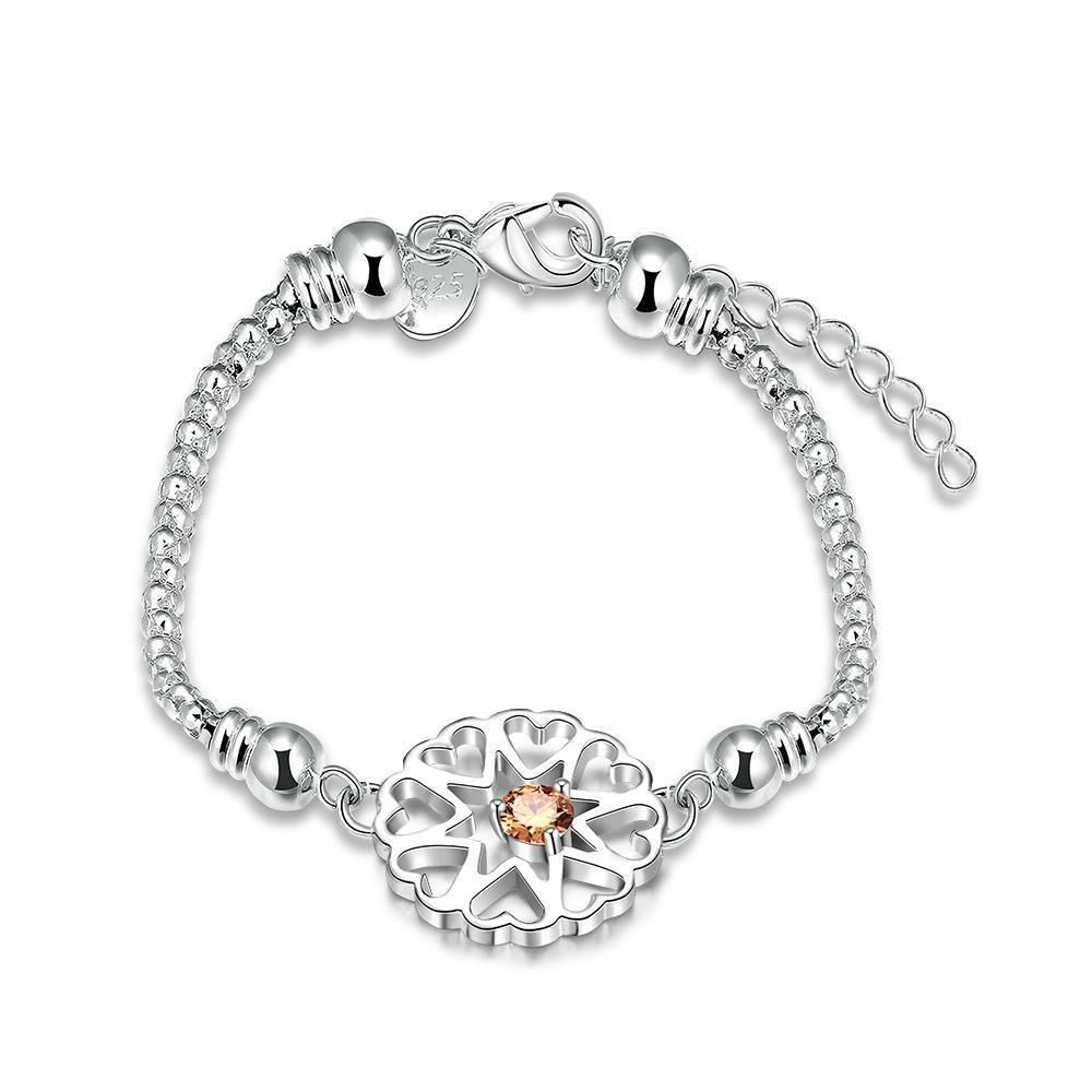 Vienna Jewelry Sterling Silver Orange Citrine Blossoming Floral Bracelet