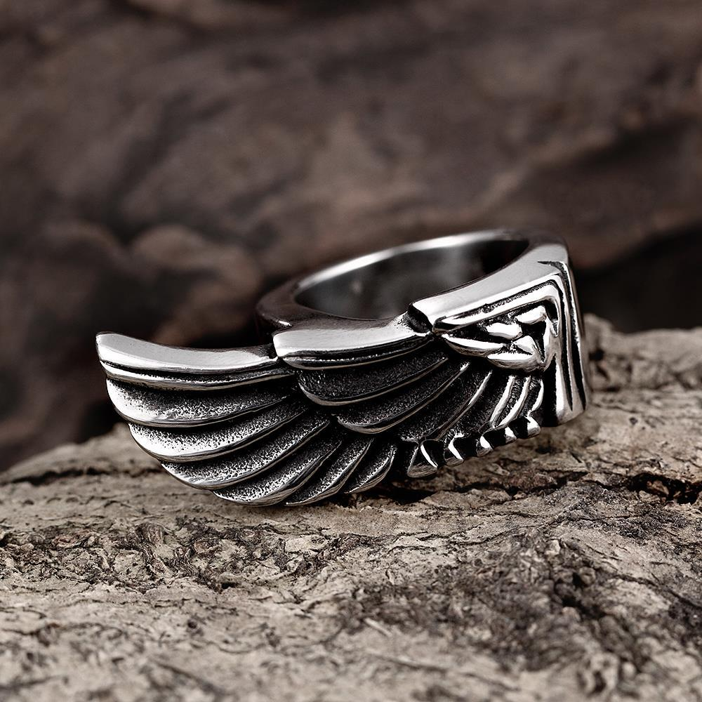 Vienna Jewelry Stainless Steel Eagle's Wing Ring