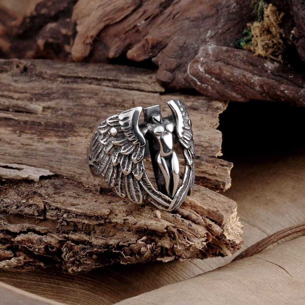 Vienna Jewelry The Flying Angle Stainless Steel Ring