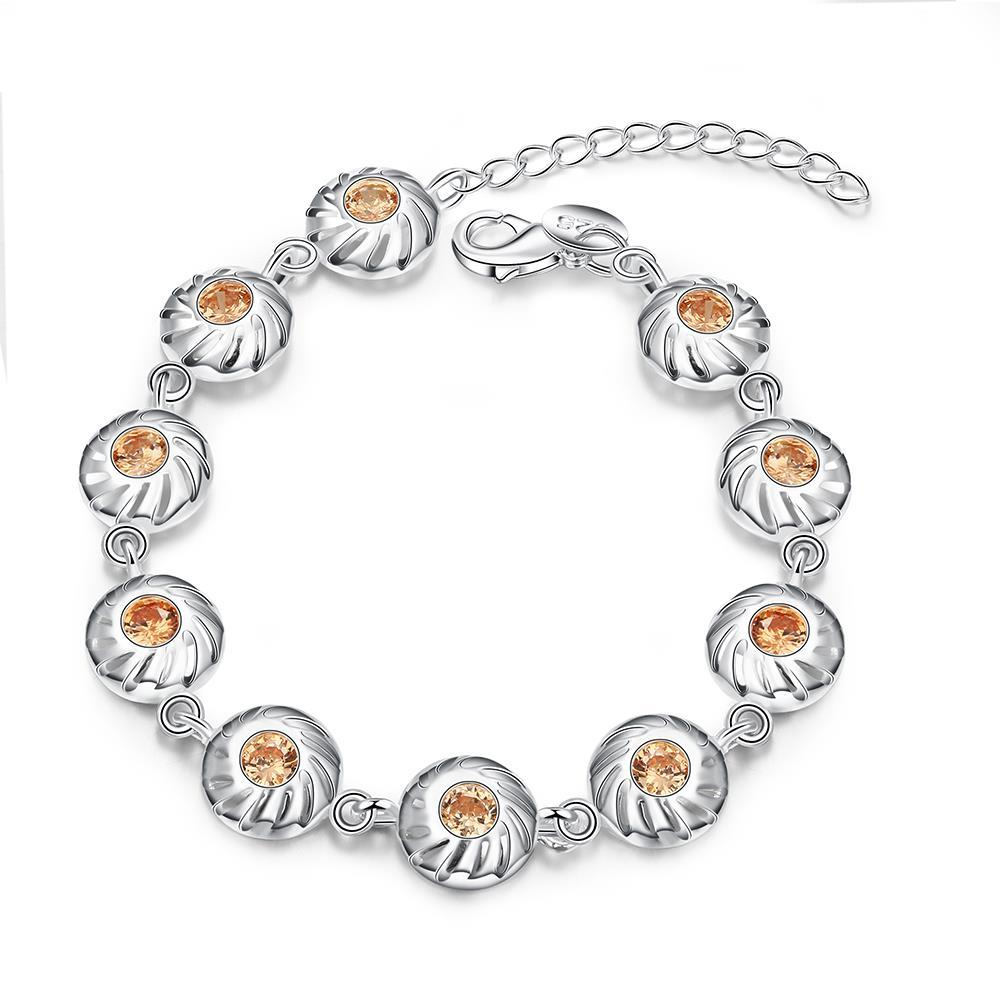 Vienna Jewelry Sterling Silver Petite Orange Citrine Sea-Shell Bracelet