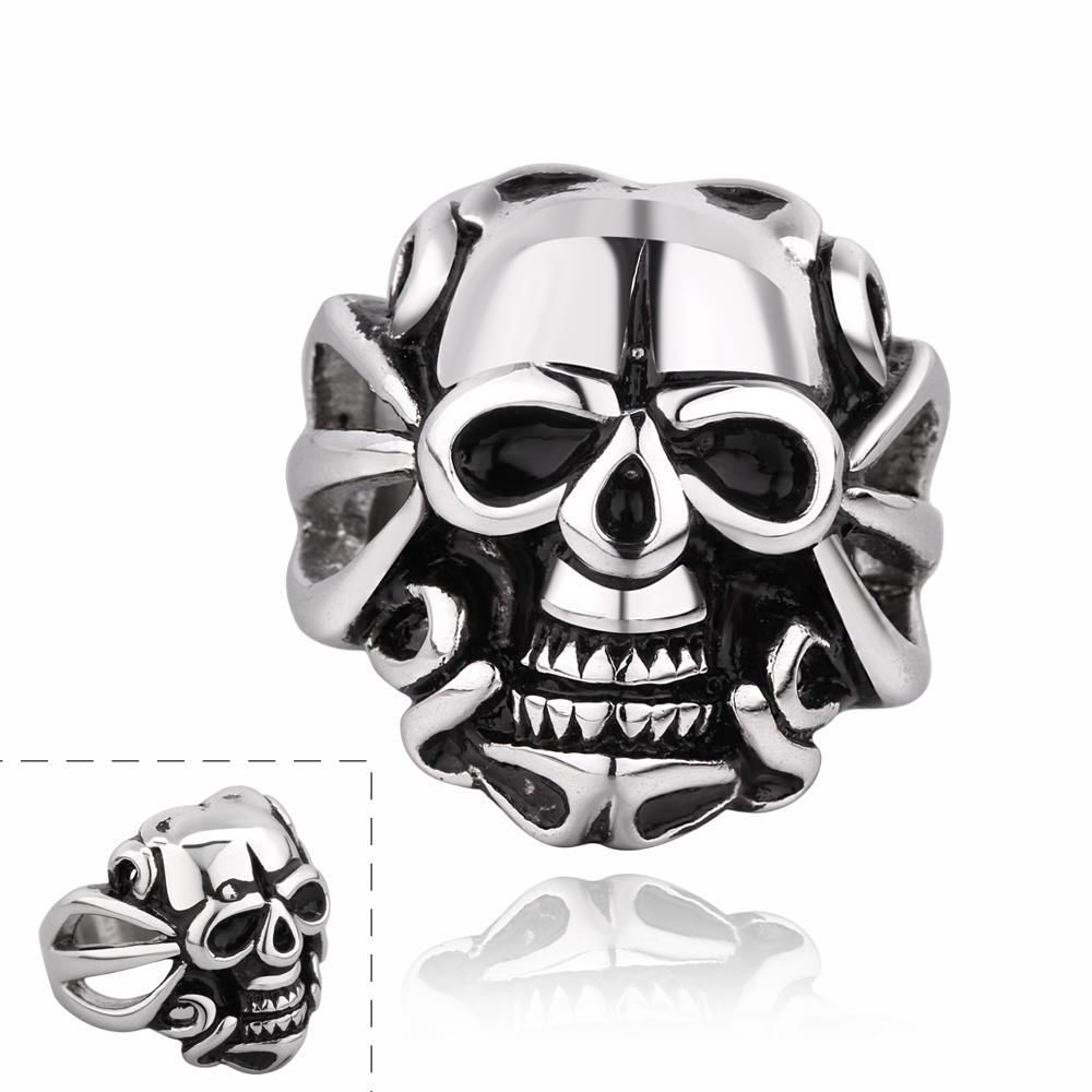 Vienna Jewelry Single Skull Emblem Stainless Steel Ring
