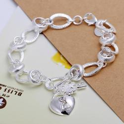 Vienna Jewelry Sterling Silver Petite Heart Emblem Modern Bracelet - Thumbnail 0