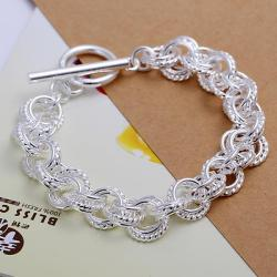 Vienna Jewelry Sterling Silver Curved Chain Bracelet - Thumbnail 0