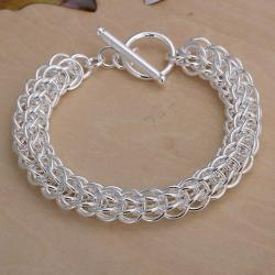 Vienna Jewelry Sterling Silver Multi Chain Lock Bracelet - Thumbnail 0