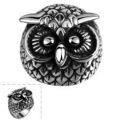 Vienna Jewelry Canadian Owl's Stainless Steel Ring - Thumbnail 0